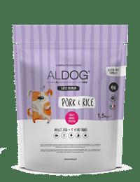 sacco 1,5kg aldog pork&rice fronte